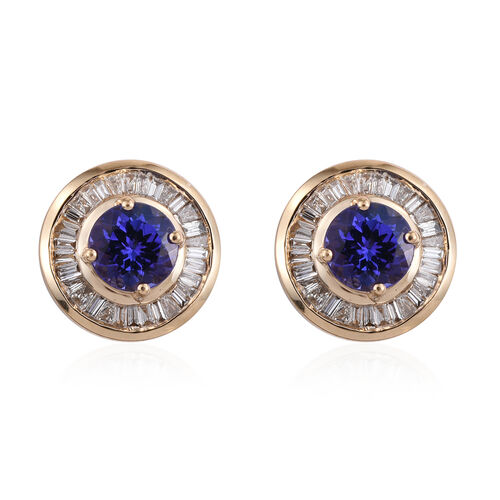 ILIANA 18K Yellow Gold AAA Tanzanite (Rnd), Diamond (SI/G-H) Stud Earrings (with Screw Back) 1.750 Ct.