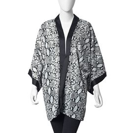 Python Pattern Kimono (Size 83.8x71.1 Cm) - White and Black Colour (One Size Fits All)