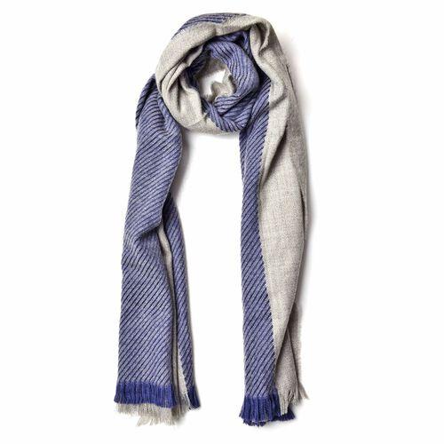 Designer Inspired-Dark Blue and Grey Colour Stripes Pattern Blanket Shawl (Size 200X75 Cm)