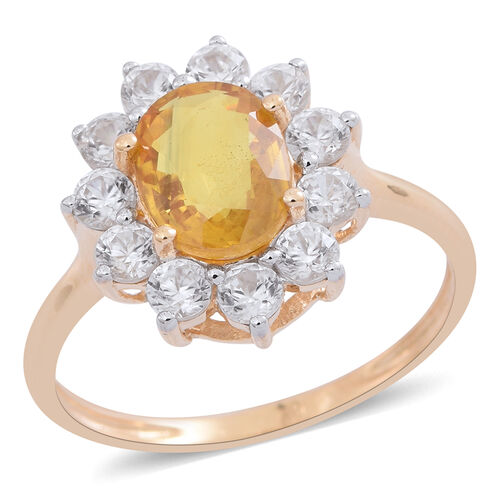 One Time Deal -9K Yellow Gold AA Premium Size Chanthaburi Yellow Sapphire (Ovl 2.50 Ct), Natural White Cambodian Zircon Ring 4.000 Ct.