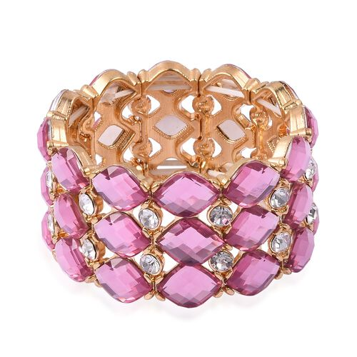 Simulated Pink Topaz and White Austrian Crystal Stretchable Bracelet (Size 7) in Gold Tone.