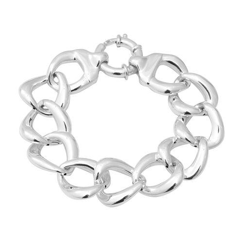Link Bracelet with Senorita Clasp in Thai Sterling Silver 22.52 Grams 8 Inch