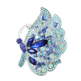 Simulated Blue Sapphire and Multicolour Austrian Crystal Butterfly Brooch in Silver Tone