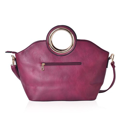 Burgundy and Silver Colour Tote Bag with External Zipper Pocket and Adjustable and Removable Shoulder Strap (43x30x23x15 Cm)