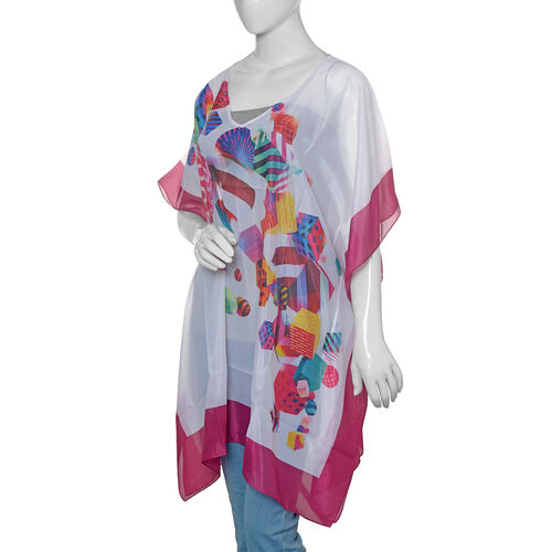 White, Fuchsia and Multi Colour Digital Printed Kaftan (Size 90x65 Cm)