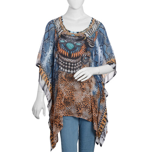 Designer Inspired- Chocolate, Blue and Multi Colour Crystal Embellished Leopard Pattern Top (Size 80