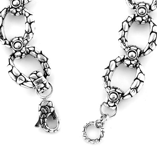 Bali Legacy Collection Sterling Silver Pebble Curb Link Bracelet (Size 7.5), Silver wt 34.58 Gms.