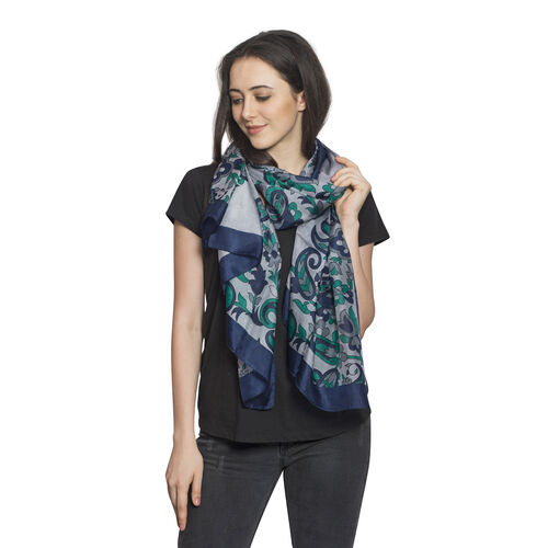 100% Mulberry Silk Blue, Green and Grey Colour Floral and Paisley Hand Screen Printed Scarf (Size 18