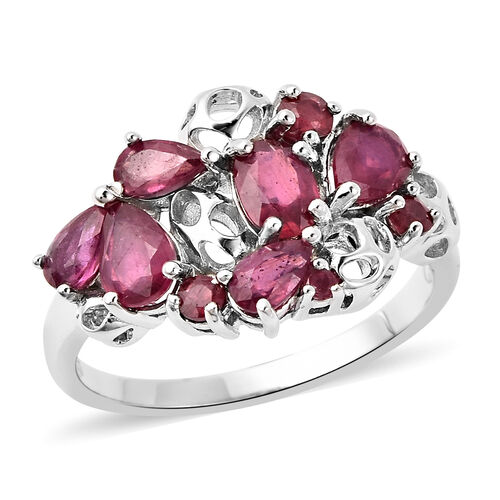 RACHEL GALLEY Misto Collection - African Ruby Lattice Ring in Rhodium Overlay Sterling Silver 3.00 C