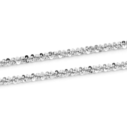 Italian Made Rhodium Overlay Sterling Silver Diamond Cut Rock Necklace (Size 30),Silver Wt 4.63 Gms.