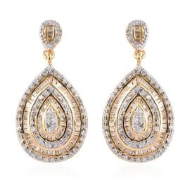 Diamond Drop Earrings (with Push Back) in 14K Gold Overlay Sterling Silver 1.00 Ct, Silver wt 6.20 G