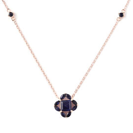 Isabella Liu Floral Collection - AA Masoala Sapphire Necklace (Size 18) in Rose Gold Overlay Sterlin