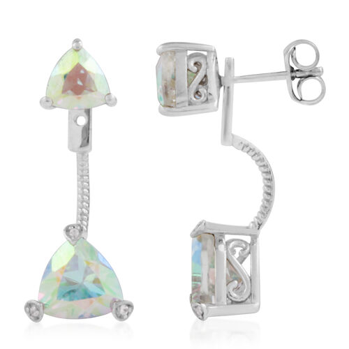 Mercury Glow (Trl), Natural Cambodian Zircon Jacket Earrings (with Push Back) in Platinum Overlay Sterling Silver 2.056 Ct.