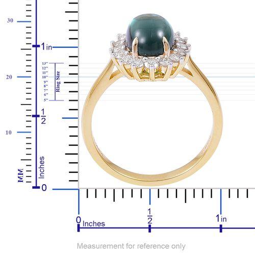 ILIANA 18K Yellow Gold Monte Belo Indicolite (Ovl 2.65 Ct), Diamond Ring 3.050 Ct.