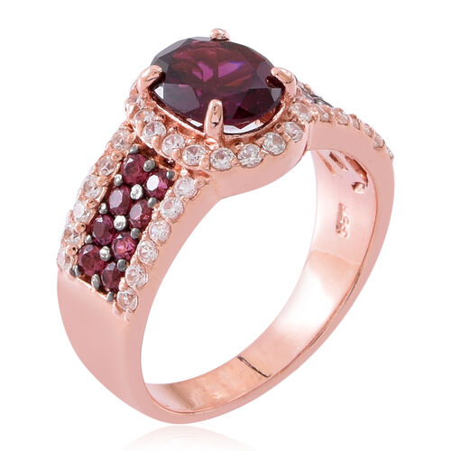 Rhodolite Garnet (Ovl 2.25 Ct), Natural White Cambodian Zircon Ring in Black Rhodium and Rose Gold Overlay Sterling Silver 4.150 Ct. Silver wt 5.70 Gms.