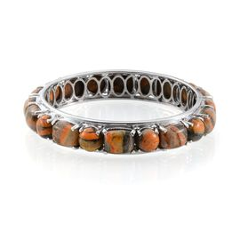 Bumble Bee Jasper (Cush) Bangle (Size 7) in Platinum Overlay Sterling Silver 68.500 Ct, Silver wt 22 Gram.