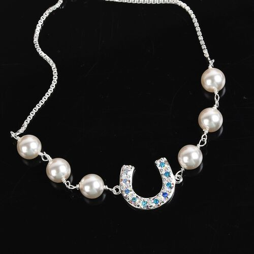 J Francis - Crystal from Swarovski White Pearl Crystal and AB Crystal Adjustable Bracelet (Size 6.5-9.5) in Sterling Silver