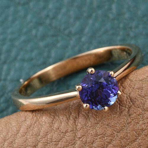ILIANA 18K Yellow Gold AAA Tanzanite (Rnd) Solitaire Ring 1.000 Ct.