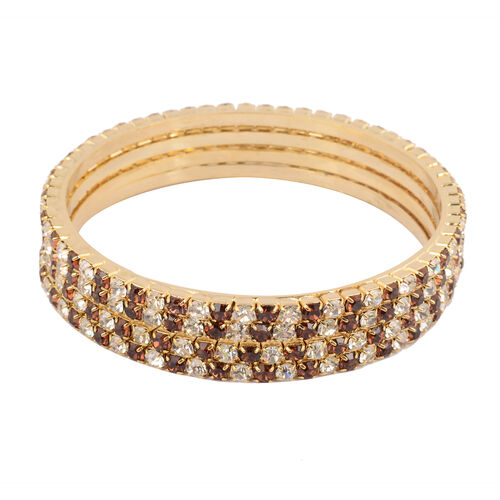 4 Piece Set - Dark Brown Austrian Crystal Bangle (Size 7) in Gold Tone