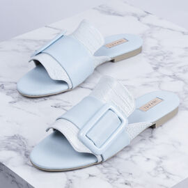 Inyati - NATALIE Soft Blue Croc Finish Sandals with Statement Buckle