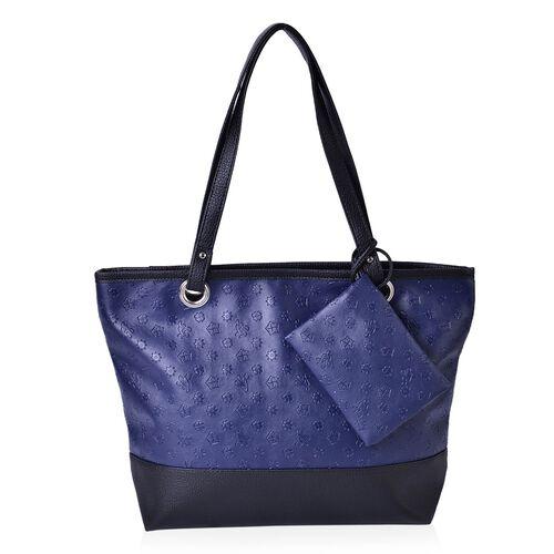 Set of 2 - Blue Colour Floral Pattern Black Colour Large Handbag (Size 42x33x30x11.5 Cm) and Small Pouch (Size 15x12 Cm)