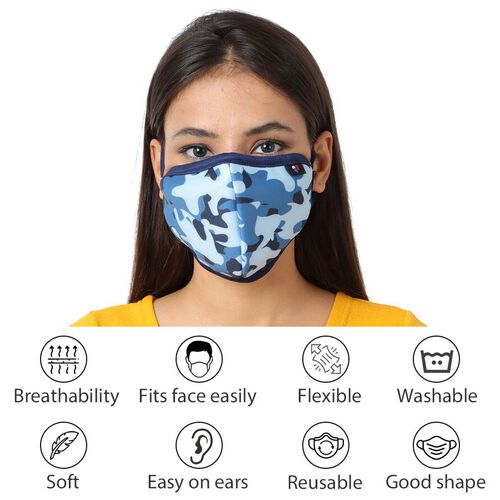 6 Layer Camouflage Pattern Reusable Face Covering (One Size) - Blue