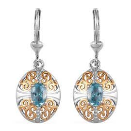 Ratanakiri Blue Zircon Lever Back Earrings in Platinum and Yellow Gold Overlay Sterling Silver 1.25