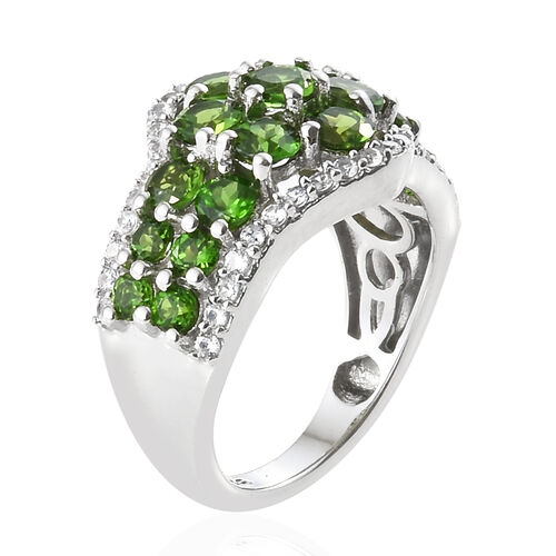 Russian Diopside (Rnd), Natural Cambodian Zircon Ring in Platinum Overlay Sterling Silver 2.750 Ct.