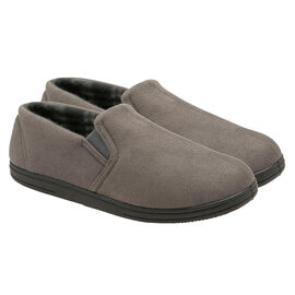 Dunlop Mens Bernard Twin Elasticated Gusset Corduroy Slippers Grey