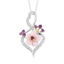 Pink Mother of Pearl (1.65 Ct),Rhodolite Garnet,White Zircon Sterling Silver Pendant With Chain  2.2