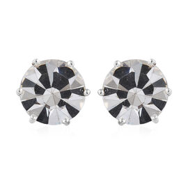 J Francis Crystal from Swarovski - White Colour Crystal (Rnd 11.5mm) Stud Earrings (with Push Back) in Sterling Silver