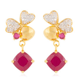 African Ruby (Cush and Rnd 7.36 Ct), Natural White Cambodian White Zircon Earrings in Platinum and Yellow Gold Overlay Sterling Silver 7.770 Ct.