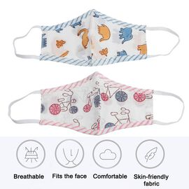 2 Piece Set - 100% Cotton Hand Block Printed Bicycle and Elephant Double Layer Reusable Kids Face Co