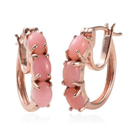 Peruvian Pink Opal (Ovl) Hoop Earrings (with Clasp Lock) in Rose Gold Overlay Sterling Silver 2.250