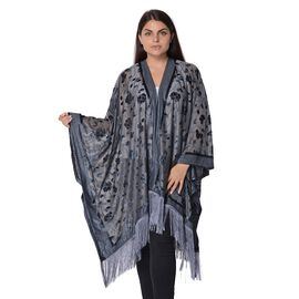 Flower and Leaf Pattern Kimono with Tassels (Free Size, L-84 Cm) -Grey