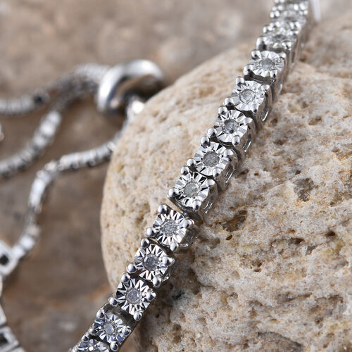 Diamond (Rnd) Adjustable Halo Bracelet (Size 6.5 - 9) in Platinum Overlay Sterling Silver 0.250 Ct.