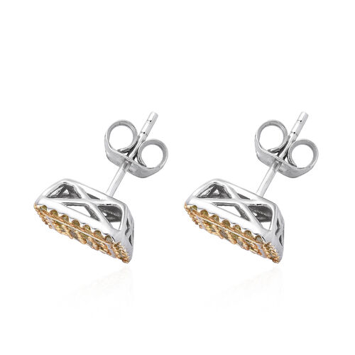 Yellow Diamond (Rnd) Earrings (with Push Back) in Platinum and Gold Overlay Sterling Silver 0.500 Ct.