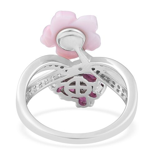 Jardin Collection - Pink Mother of Pearl, Rhodolite Garnet, Natural White Cambodian Zircon Floral Ring in Rhodium Overlay Sterling Silver