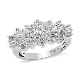 ILIANA 1 Carat Diamond Ballerina Ring in 18K White Gold 4.02 IGI Certified SI GH