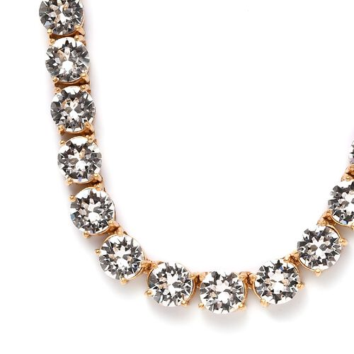 J Francis Crytsal from Swarovski White Crystal Necklace (Size 20 with 0.5 Extender) in 18K Gold Tone