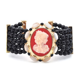 Black Howlite, Black Austrian Crystal, White Cats Eye and Cameo Cuff Bangle (Size 7 with 2 inch Exte