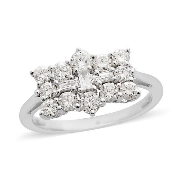 RHAPSODY 950 Platinum IGI Certified Diamond (Rnd and Bgt) (VS/E-F) Boat Ring 1.00 Ct, Platinum wt. 4