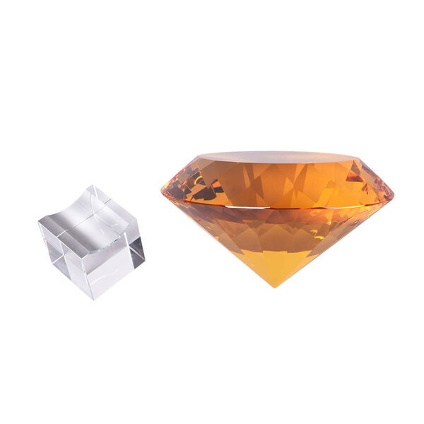 TJC Exclusive Diamond Cut Yellow Sapphire Crystal with Stand (20cms) in a Gift Box