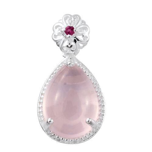 Rose Quartz (Pear), Ouro Fino Rubelite Pendant in Sterling Silver 7.000 Ct.