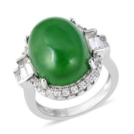 Chinese Green Jade (11.25 Ct),White Topaz Sterling Silver Ring  12.300  Ct.