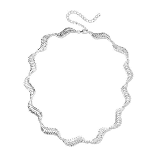 LucyQ Wave Collar Necklace in Rhodium Plated Sterling Silver 36.89 Grams 17 with 3 inch Extender