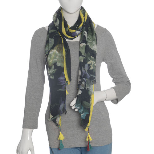 40% WOOL Floral Pattern Black and Multi Colour Scarf (Size 70X180 Cm)