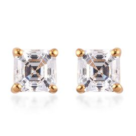 Swarovski Zirconia Solitaire Stud Push Post Earring in 14K Gold Overlay Sterling Silver 0.46 ct  1.0