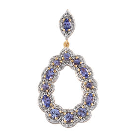 4.25 Ct Tanzanite and Zircon Teardrop Pendant in Gold Plated Silver