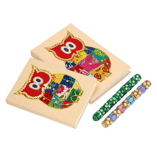 4 Piece Set - Two Owl Design Handmade Paper Diary (100 Pages) and Two Beaded Pen - Ivory, Green and